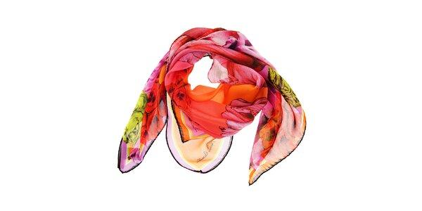 Dámský růžový hedvábný šátek Roberto Cavalli s tropickými květy