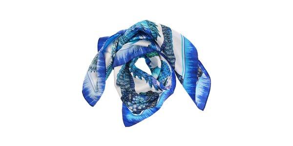 Dámský azurově modrý hedvábný šátek Roberto Cavalli s potiskem