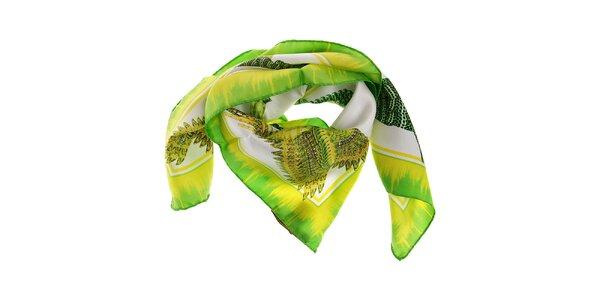 Dámský limetkově zelený hedvábný šátek Roberto Cavalli s potiskem