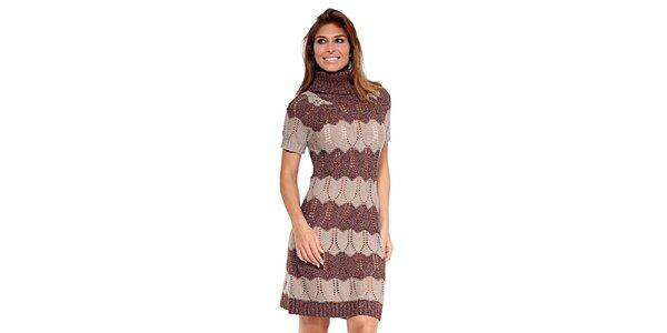 Dámské hnědo-béžové pletené šaty Kool