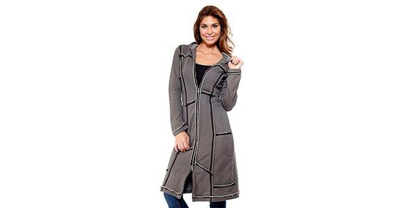 Dámský šedý sešívaný kabátek na zip Kool