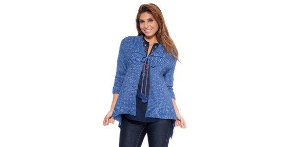 Dámský sytě modrý zavazovací svetr s bambulkami Kool