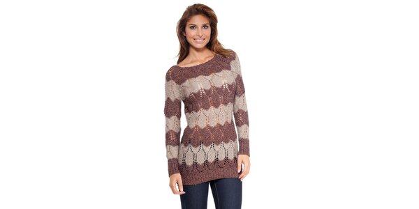 Dámský hnědo-béžový pletený svetr Kool