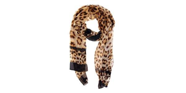 Dámský hnědý leopardí hedvábný šál Roberto Cavalli
