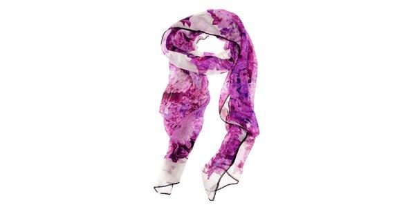 Dámský purpurový hedvábný šál Roberto Cavalli s potiskem