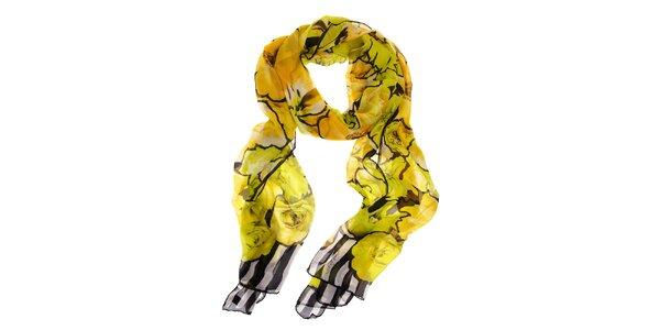Dámský hedvábný šál Roberto Cavalli se žlutými květy