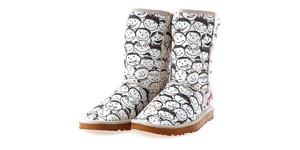 Dámské bílé boty s potiskem mluvících hlav Elite Goby