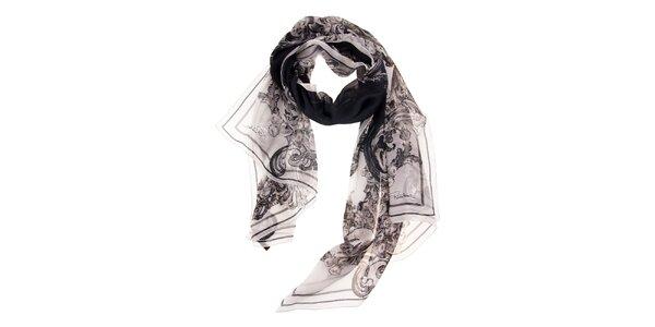 Dámský bílý hedvábný šál Roberto Cavalli s černým potiskem