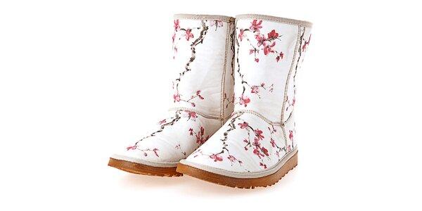 Dámské bílé boty s potiskem sakurových větviček Elite Goby