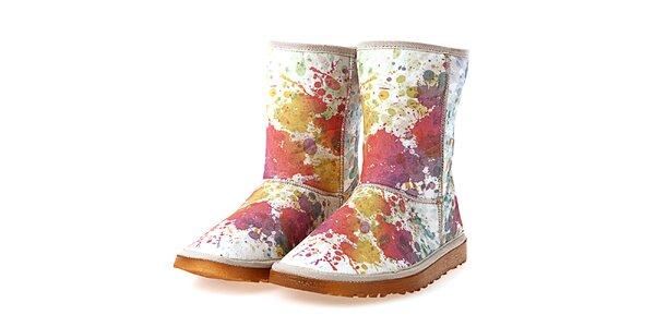 Dámské krémové boty s barevným malířským potiskem Elite Goby
