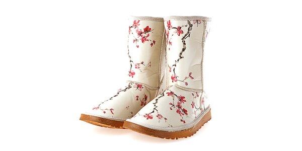 Dámské béžové boty s potiskem sakurových větviček Elite Goby