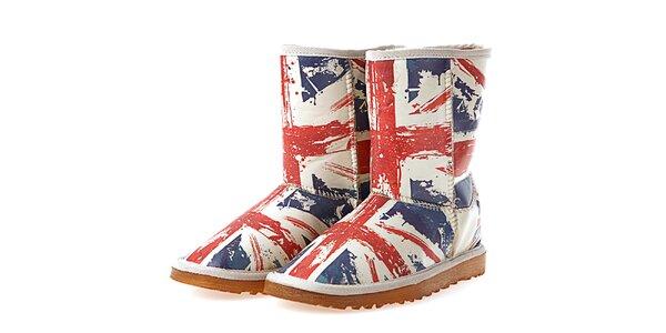 Dámské bílé boty s potiskem britské vlajky Elite Goby