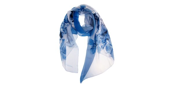 Dámský modro-bílý hedvábný šál Roberto Cavalli s potiskem