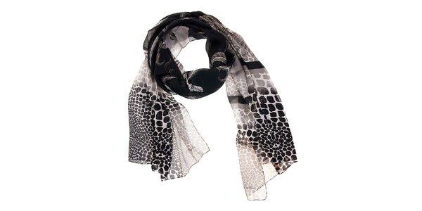 Dámský černo-bílý hedvábný šál Roberto Cavalli se zvířecím motivem