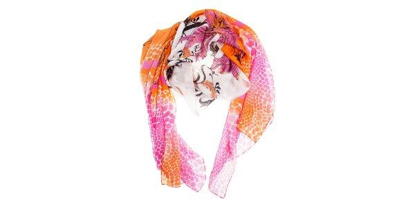 Dámský růžovo-oranžový hedvábný šál Roberto Cavalli se zvířecím motivem