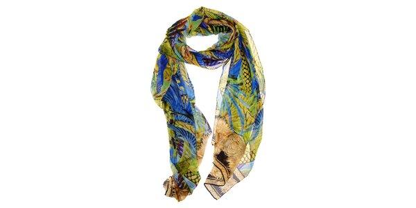 Dámský pestrobarevný hedvábný šál Roberto Cavalli s tropickým motivem