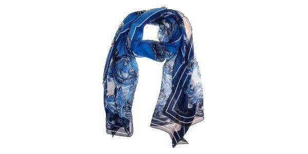 Dámský tmavě modrý hedvábný šál Roberto Cavalli s potiskem