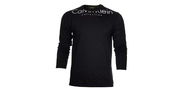 Pánské černé tričko Calvin Klein s bílým potiskem