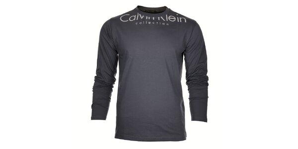 Pánské šedé tričko Calvin Klein s bílým potiskem