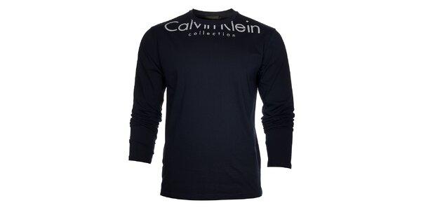 Pánské tmavě modré tričko Calvin Klein s bílým potiskem