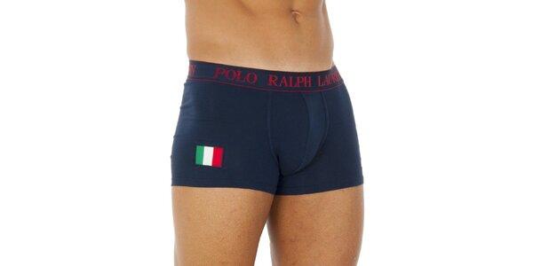 Pánské tmavě modré bavlněné boxerky Ralph Lauren s italskou vlajkou