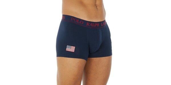 Pánské tmavě modré bavlněné boxerky Ralph Lauren s americkou vlajkou