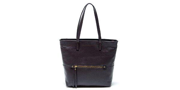 Elegantní tmavě hnědá kožená kabelka Renata Corsi