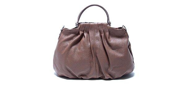 Originální hnědá kožená kabelka Renata Corsi