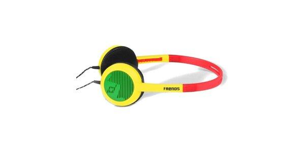 Designová červeno-žluto-zelená sluchátka Frends