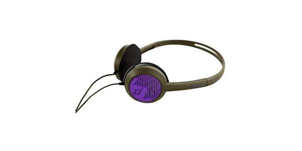Designová černo-fialová sluchátka Frends