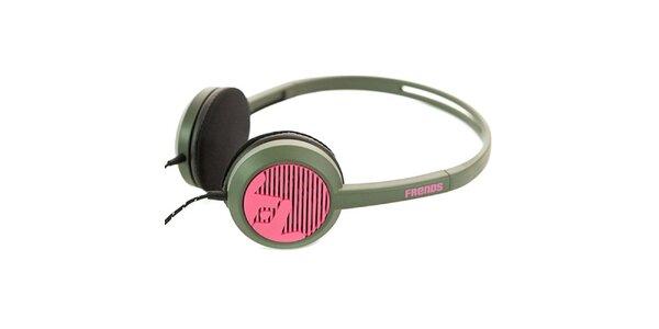 Designová černo-růžová sluchátka Frends