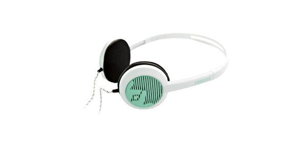Designová bílo-zelená sluchátka Frends