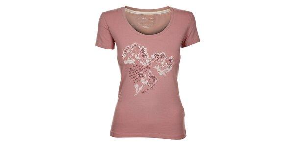 Dámské světle růžové tričko Calvin Klein s potiskem a kamínky