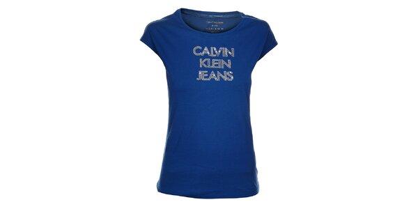 Dámské modré tričko Calvin Klein s flitry a korálky