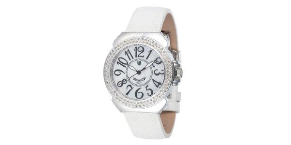 Dámské bílé analogové hodinky Lancaster s diamanty