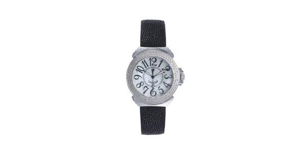 Dámské černé analogové hodinky Lancaster s diamanty