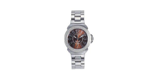 Dámské ocelové hodinky s hnědým displejem Lancaster