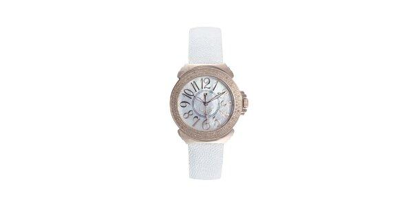 Dámské růžovo-bílé hodinky s perleťovým displejem Lancaster