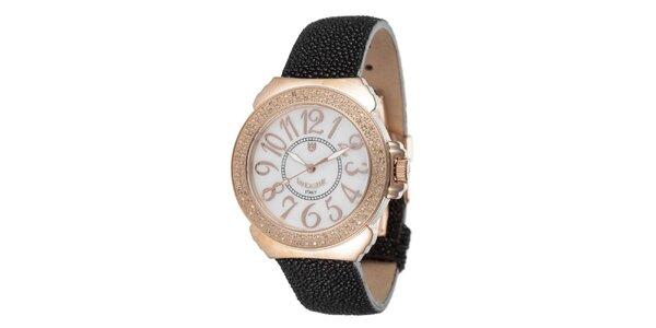 Dámské růžovo-černé hodinky s perleťovým displejem Lancaster
