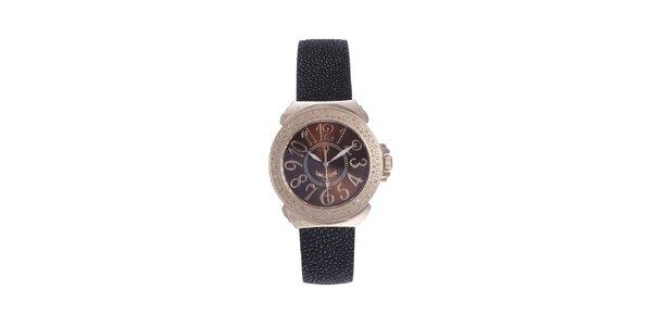 Dámské růžovo-černé hodinky s karamelovým displejem Lancaster