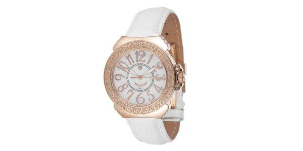 Dámské růžovo-bílé hodinky s drobnými diamanty Lancaster