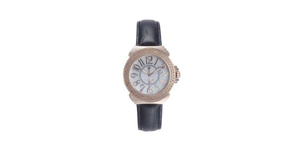 Dámské černo-růžové hodinky s drobnými diamanty Lancaster