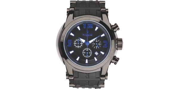 Pánské černé hodinky s modrými detaily a chronografem Lancaster