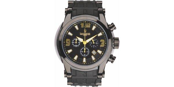 Pánské černé hodinky se žluto-zlatými detaily a chronografem Lancaster