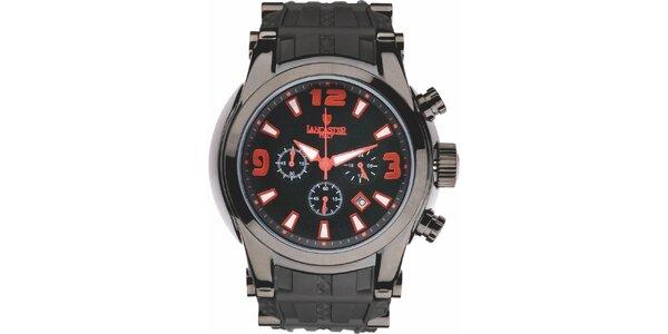 Pánské černé hodinky s červenými detaily a chronografem Lancaster