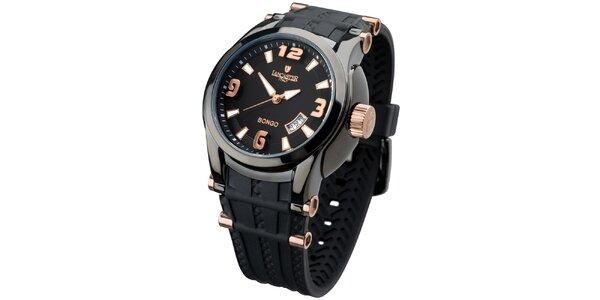 Pánské černé analogové hodinky s růžovo-zlatými detaily Lancaster