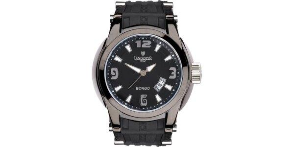 Pánské černo-stříbrné analogové hodinky s datumovkou Lancaster