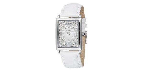 Dámské stříbrné ocelové hodinky Lancaster s krystaly a bílým řemínkem