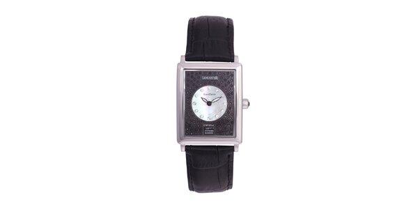 Dámské stříbrné ocelové hodinky Lancaster s krystaly a koženým řemínkem