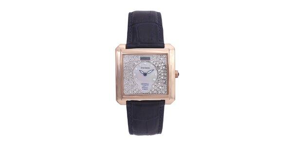 Dámské luxusní analogové hodinky s modrým koženým páskem Lancaster